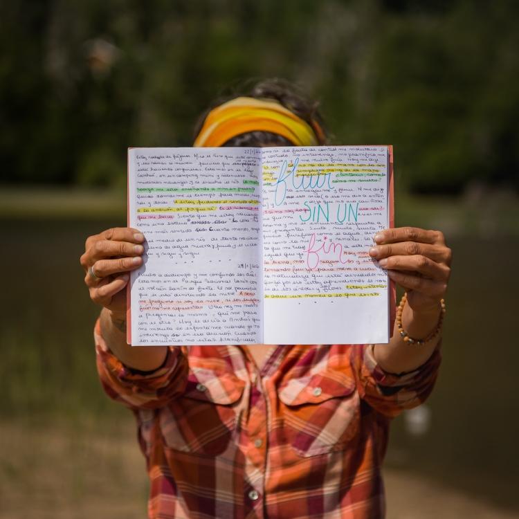 diario íntimo con subrayados y frases en color